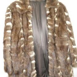 Pelz-Jacke braun gemustert Gr. 40-42